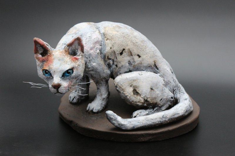 Keramik Skulptur Katze