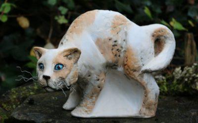 Keramik Katze Skulptur, sign. Unikat