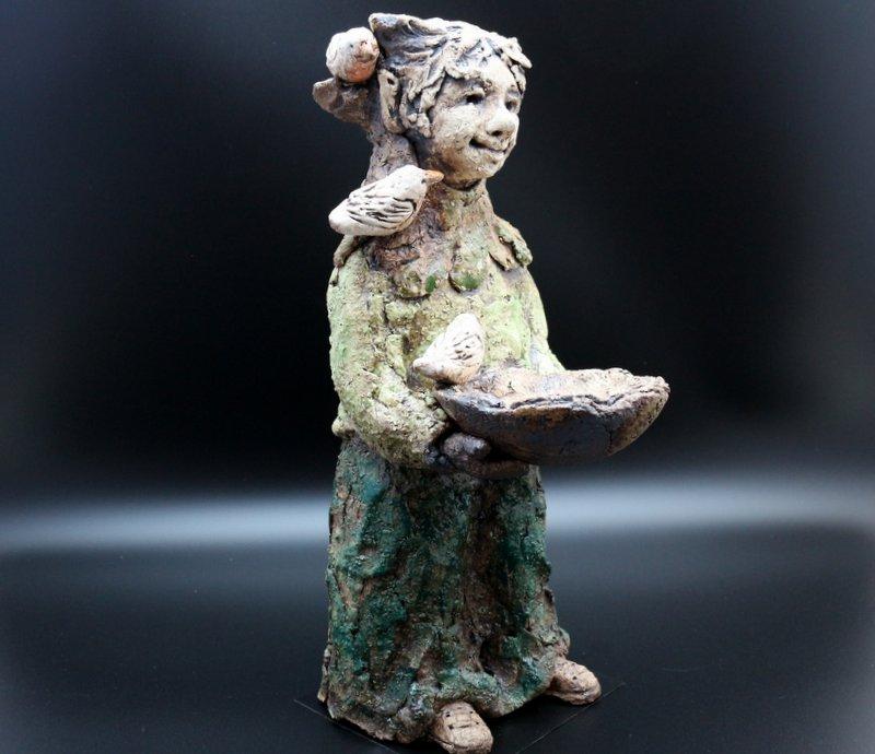 Keramik Figur Elfe mit Vögel - MJ-Arts