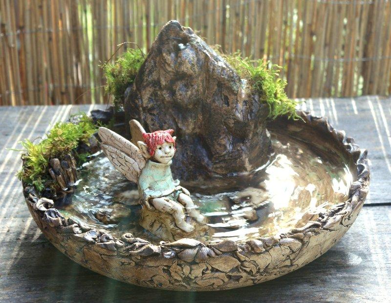 Reserviert für Konstantina – Keramik Elfen-Brunnen / Wasserspiel- Unikat