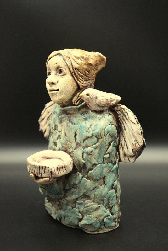 Keramik Engel mit Vogel, Weihnachtsengel, Schutzengel, Kerzenhalter – Unikat