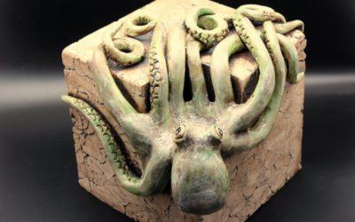 "Keramik ""Kubus Oktopus"" / Keramikobjekt Kerzenständer – Unikat"