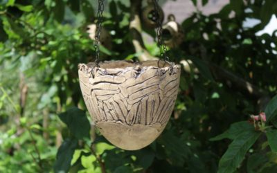 Keramik Blumenampel outdoor, naturfarben, mit Blumenampelkette