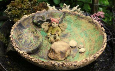 DIY Mini Fairy-Garten Ø 36,5 cm – Keramik Elfe mit Pflanzschale – Unikat