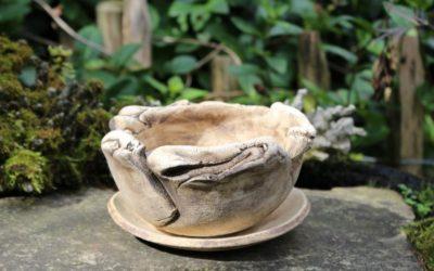 Keramik Bonsaischale rund, unglasiert mit Untersetzer – Unikat