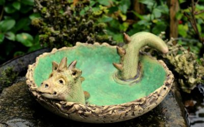 """Keramik Vogeltränke """"Drache"""" Ø 27 cm – Gartenwächter, Gargoyle"""