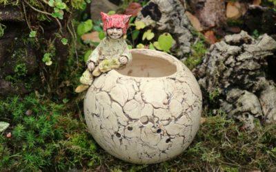Keramik Garnschale mit Elfe, Märchen, Handarbeit, Unikat