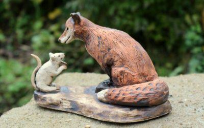 Keramik Fuchs und Maus – sign. Unikat