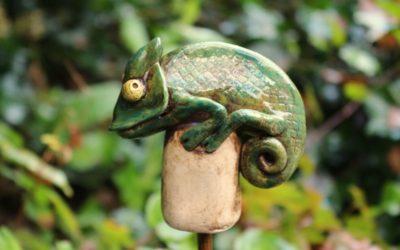 Keramik Chamäleon Blumenstecker, Beetstecker, Blumentopfstecker – Unikat