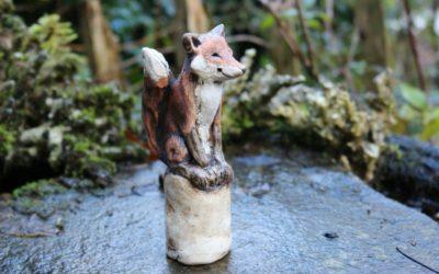 Keramik Fuchs,Blumenstecker, Beetstecker, Blumentopfstecker – Unikat