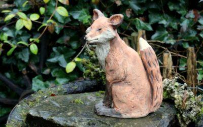 Fuchs Keramik Gartenfigur, Gartenwächter, Gartenkeramik Unikat
