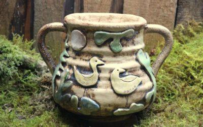 "Keramik Vase / Krug ""Waldvögel"" – Unikat"