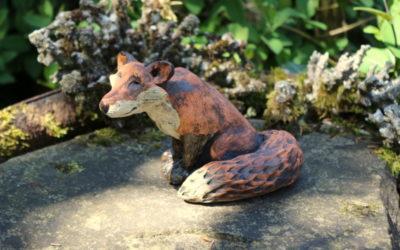 Fuchs, Gartenfigur, Keramik Unikat – Gartenkeramik Indoorkeramik Keramikfigur